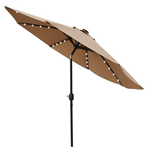 Sundale Outdoor Solar Powered 32 Led Lighted Outdoor Patio Umbrella