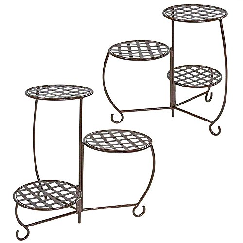 Sunnydaze-Bronze-Checkered-Triple-Planter-Stand-Set-of-2-0