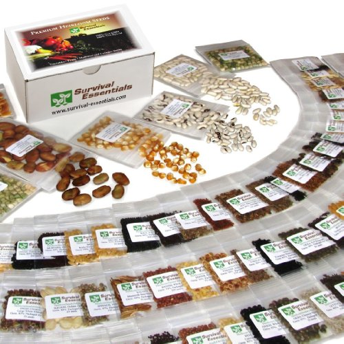 Survival-Essentials-135-Variety-Premium-Heirloom-Non-Hybrid-Non-GMO-Seed-Bank-23335-Seeds-All-In-One-Super-Value-PakVeggies-Fruits-MedicinalCulinary-Herbs-Plus-9-FREE-Rare-Tomato-Varieties-0
