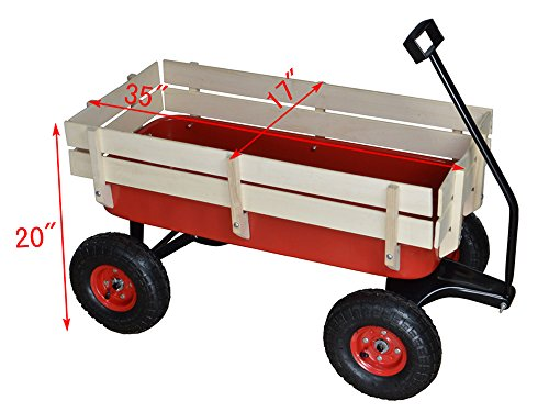 TMS-Outdoor-Wagon-All-Terrain-Pulling-w-Wood-Railing-Air-Tires-Children-Kid-Garden-0-0