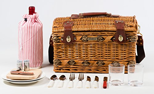 Tan-Colored-Willow-And-Seagrass-Picnic-Basket-0-1