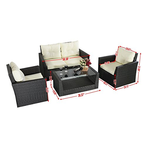 Tangkula 4pc Rattan Sofa Furniture Set Patio Lawn