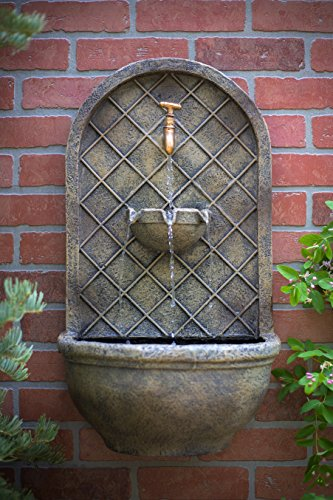 The Milano Outdoor Wall Fountain Florentine Stone Finish