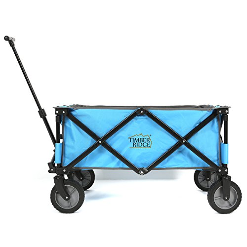 TimberRidge-Folding-Camping-Wagon-Garden-Cart-Collapsible-All-Terrains-Blue-0