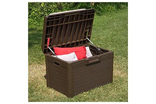 Toomax-Santorini-Plus-Brown-33-Gallon-Cushioned-Outdoor-Deck-Box-With-WeatherUV-Resistant-Wicker-Style-Exterior-Can-Be-Padlocked-Italian-Made-0-1
