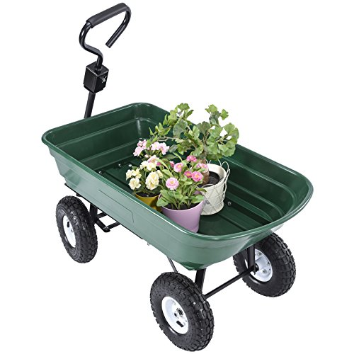UenJoy-Heavy-Duty-660-lb-Garden-Dump-Cart-Dumper-Wagon-Carrier-Utility-Wheelbarrow-Air-Tires-0-0