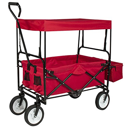 Valuebox-Utility-Collapsible-Folding-Wagon-WCanopy-Shopping-BuggySports-Outdoor-Beach-Toy-Yard-Garden-CartDeep-Red-0-0