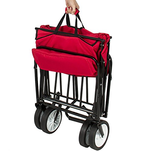 Valuebox-Utility-Collapsible-Folding-Wagon-WCanopy-Shopping-BuggySports-Outdoor-Beach-Toy-Yard-Garden-CartDeep-Red-0-1