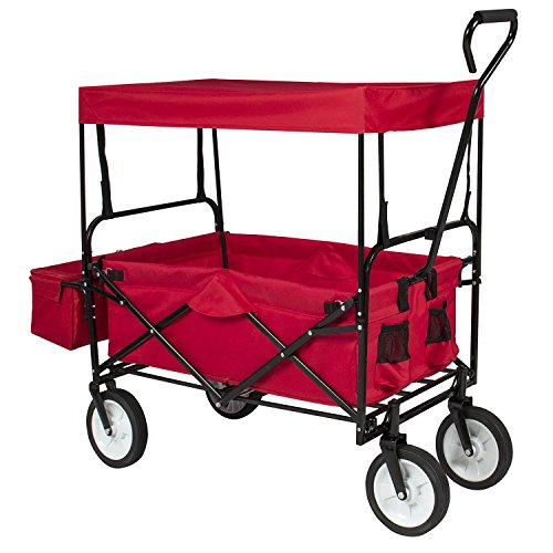 Valuebox-Utility-Collapsible-Folding-Wagon-WCanopy-Shopping-BuggySports-Outdoor-Beach-Toy-Yard-Garden-CartDeep-Red-0