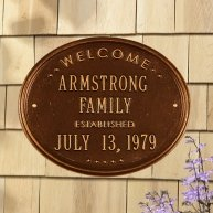 Welcome-Oval-Family-Established-House-Plaque-Two-Line-BronzeGold-0
