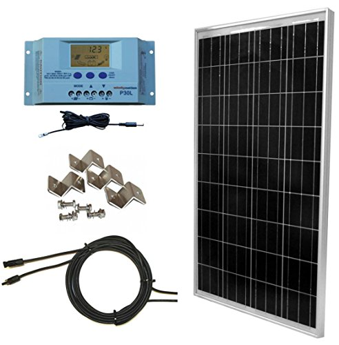 Windy-Nation-100-Watt-Solar-Panel-Complete-Off-Grid-RV-Boat-Kit-with-LCD-PWM-Charge-Controller-Solar-Cable-MC4-Connectors-Mounting-Brackets-0