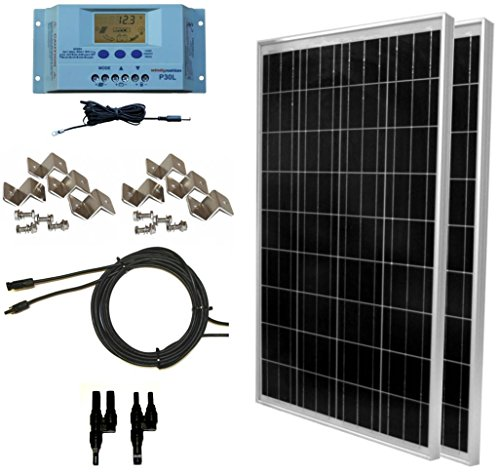 WindyNation-200-Watt-Solar-Panel-Complete-Off-Grid-RV-Boat-Kit-with-LCD-PWM-Charge-Controller-Solar-Cable-MC4-Connectors-Mounting-Brackets-0
