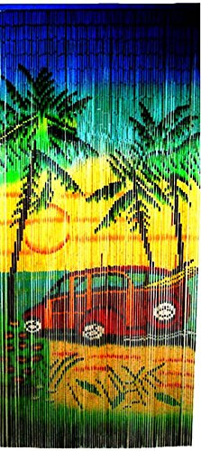 Woody-Car-Print-Beaded-Bamboo-Curtain-36W-x-78H-0