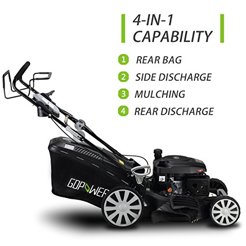 GDPOWER-161cc-4-in-1-Self-Propelled-Gas-Lawn-Mower-with-20-Inch-Deck-and-Recoil-Start-System-OHV-Engine-Rear-BagSide-DischargeMulchBag-11-inch-High-Wheels-Black-20-Black-20-Black-0-1