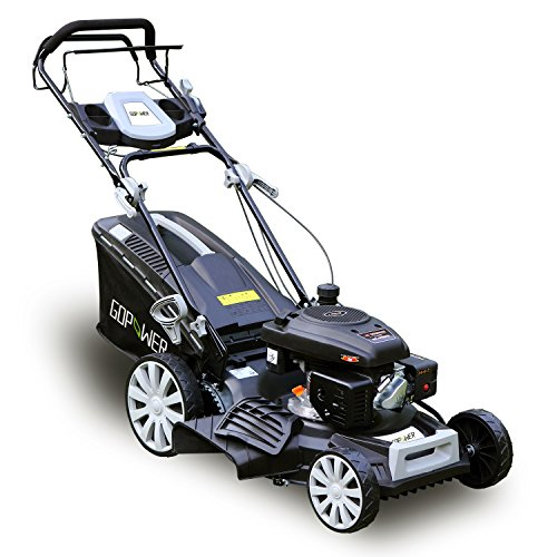 GDPOWER-161cc-4-in-1-Self-Propelled-Gas-Lawn-Mower-with-20-Inch-Deck-and-Recoil-Start-System-OHV-Engine-Rear-BagSide-DischargeMulchBag-11-inch-High-Wheels-Black-20-Black-20-Black-0
