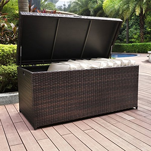 100-Gallon-Wicker-Rattan-Deck-Box-Durable-and-Long-Lasting-Steel-Frame-Construction-Plastic-Lid-Deck-Supports-for-Smooth-Closing-Ample-Storage-Space-Weather-and-Fade-Resistant-Brown-Finish-0-1