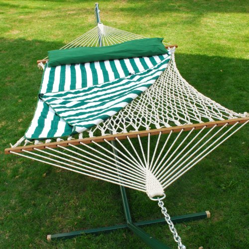 13-ft-Cotton-Rope-Hammock-w-Pad-Pillow-Set-0