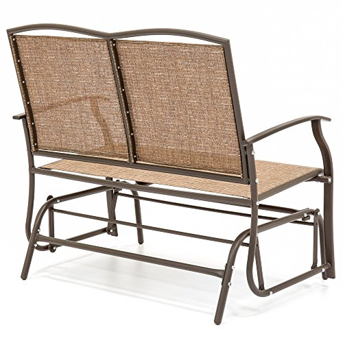 2-Person-Loveseat-Patio-Glider-Bench-Rocker-Sturdy-and-Long-Lasting-Steel-Frame-Construction-Comfortable-Ergonomic-Design-Durable-Strong-and-Waterproof-Fabric-Sleek-Design-Brown-Finish-0-0