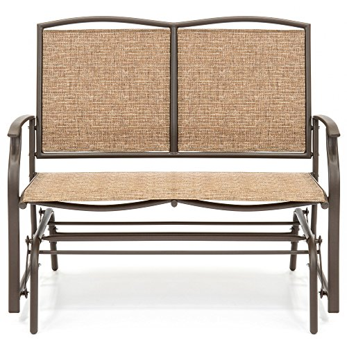 2-Person-Loveseat-Patio-Glider-Bench-Rocker-Sturdy-and-Long-Lasting-Steel-Frame-Construction-Comfortable-Ergonomic-Design-Durable-Strong-and-Waterproof-Fabric-Sleek-Design-Brown-Finish-0-1