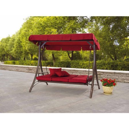 3-Seat-Canopy-Porch-Swing-Bed-Red-Fully-Reclines-to-Lie-Flat-Fade-Resistant-Fabric-UV-Treated-Fade-Resistant-Fabric-Includes-Two-Throw-Pillows-Multi-Position-Canopy-Supports-Three-People-0