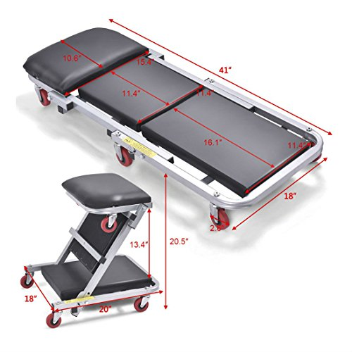 41-2-In-1-Foldable-Mechanics-Z-Creeper-Seat-Rolling-Chair-Garage-Work-Stool-New-0-0