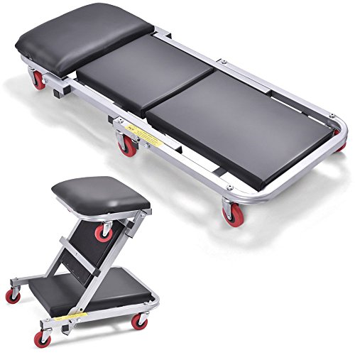 41-2-In-1-Foldable-Mechanics-Z-Creeper-Seat-Rolling-Chair-Garage-Work-Stool-New-0