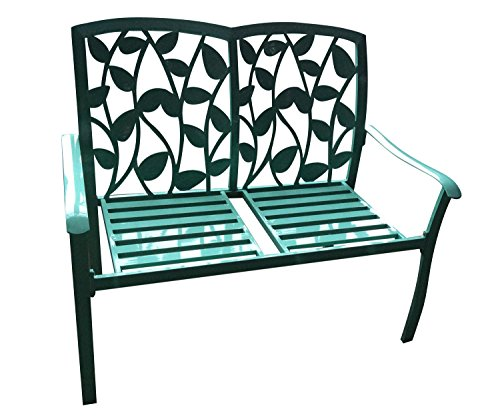 44-Green-Cast-Aluminum-Leaf-Silhouette-Outdoor-Patio-Bench-0