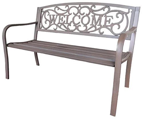 4925-Bronze-Colored-Cast-Iron-Welcome-Outdoor-Patio-Bench-0