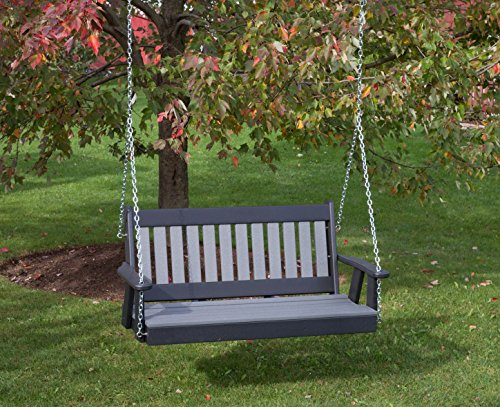 4FT-DARK-GRAY-POLY-LUMBER-Mission-Porch-Swing-Heavy-Duty-EVERLASTING-PolyTuf-HDPE-MADE-IN-USA-AMISH-CRAFTED-0