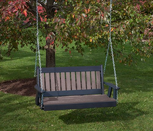 4FT-WEATHERED-WOOD-POLY-LUMBER-Mission-Porch-Swing-Heavy-Duty-EVERLASTING-PolyTuf-HDPE-MADE-IN-USA-AMISH-CRAFTED-0