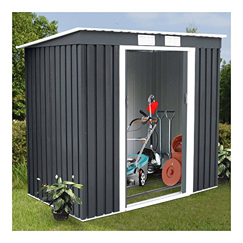 4X7-Outdoor-Garden-Storage-Shed-Tool-House-Sliding-Door-Metal-Dark-Gray-New-0