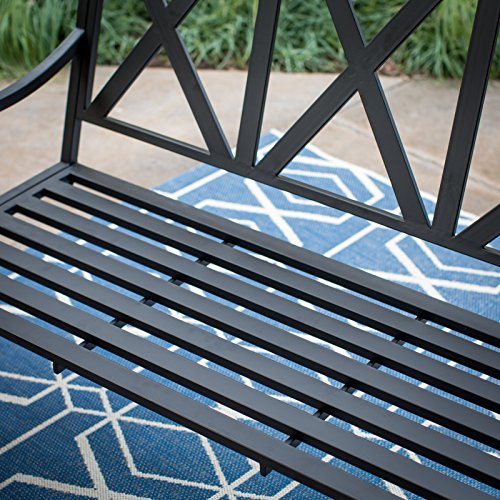 5-Foot-3-Person-Black-Metal-X-Back-Slatted-Porch-Swing-Outdoor-Patio-Garden-Furniture-0-0