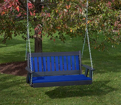 5FT-BLUE-POLY-LUMBER-Mission-Porch-Swing-Heavy-Duty-EVERLASTING-PolyTuf-HDPE-MADE-IN-USA-AMISH-CRAFTED-0