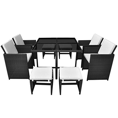 9 Pieces Outdoor Patio Rattan Wicker Dining Set Poly