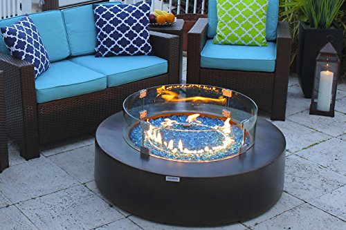 AKOYA-Outdoor-Essentials-42-Round-Modern-Concrete-Fire-Pit-Table-wGlass-Guard-Crystals-Set-in-Brown-0