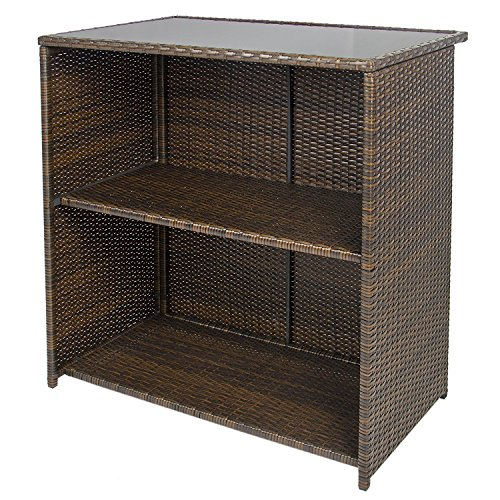 ALEKO-BTS3BR-Chestnut-3-Piece-Polyethylene-Wicker-Rattan-Outdoor-Patio-Deck-Furniture-Set-Bar-Top-Stools-Brown-0-1