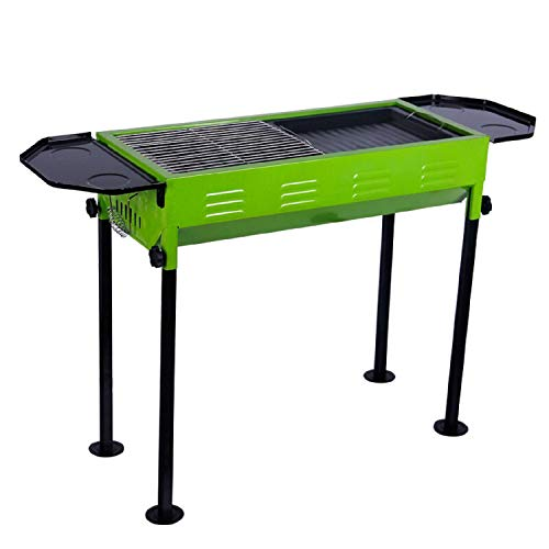 BBQ-Outdoor-Portable-Folding-Barbecue-Home-Thickened-Green-American-Enamel-Large-Garden-Charcoal-Yellow-Grill-Tools-0