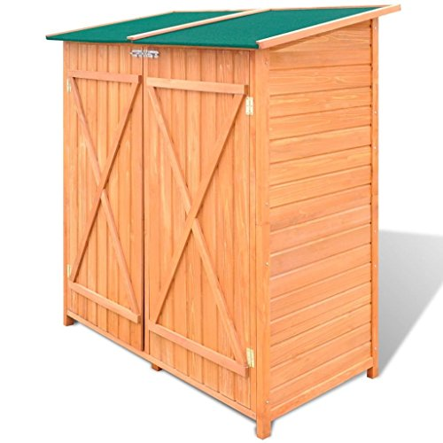 BLXCOMUS-Outdoor-Wooden-Storage-Shed-Garden-Tool-Garage-Storage-Organizer-2-layer-Cabinet-Large-Room-With-Size543-x-258-x-63Double-DoorLockable-Door-Latches-0