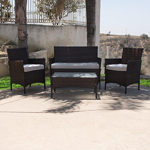 Belleze-Outdoor-Garden-Patio-4pc-Cushioned-Seat-Wicker-Sofa-Furniture-Set-2-Color-Black-and-Brown-0-0