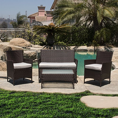 Belleze-Outdoor-Garden-Patio-4pc-Cushioned-Seat-Wicker-Sofa-Furniture-Set-2-Color-Black-and-Brown-0
