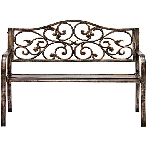 Bronze-Classic-Metal-Patio-Garden-Bench-With-Decorative-Floral-Scroll-Design-0-0