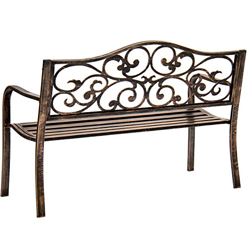 Bronze-Classic-Metal-Patio-Garden-Bench-With-Decorative-Floral-Scroll-Design-0-1