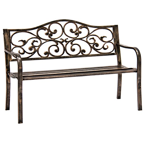 Bronze-Classic-Metal-Patio-Garden-Bench-With-Decorative-Floral-Scroll-Design-0