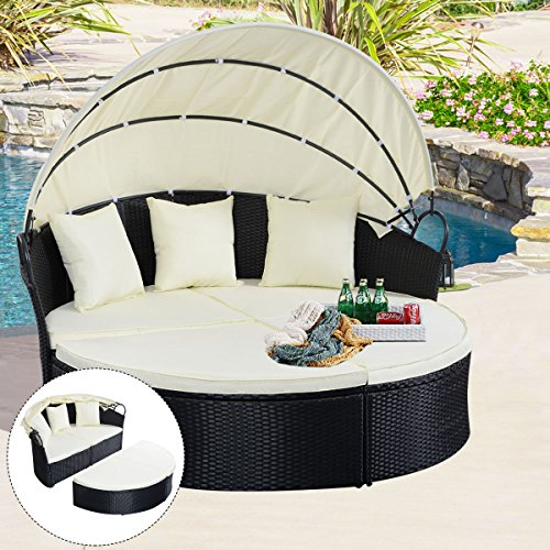 COSTWAY-NEW-Outdoor-Patio-Sofa-Furniture-Round-Retractable-Canopy-Daybed-Black-Wicker-Rattan-0-0