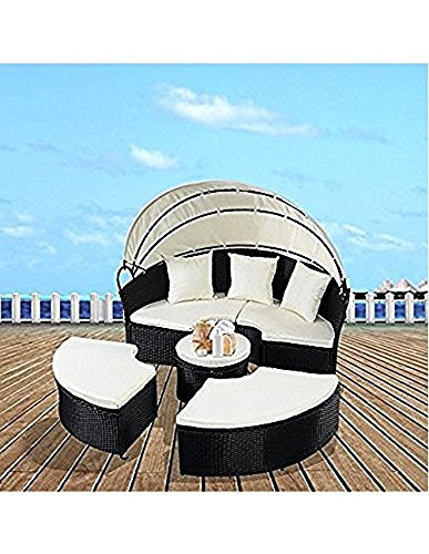 COSTWAY-NEW-Outdoor-Patio-Sofa-Furniture-Round-Retractable-Canopy-Daybed-Black-Wicker-Rattan-0