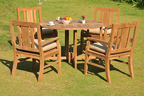 Clearance-5-Pc-Grade-A-Teak-Wood-Dining-Set-48-Round-Butterfly-Table-And-4-Osborne-Arm-Chairs-WFDSOS3-0-0