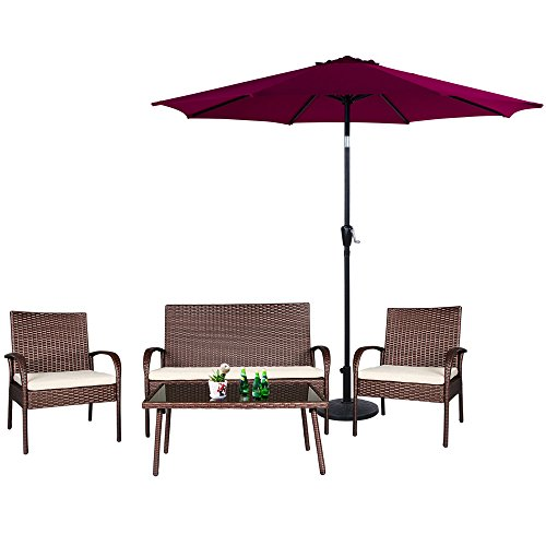 Cloud-Mountain-5-PC-Patio-Rattan-Furniture-Set-Wicker-Rattan-Conversation-Sectional-Sofa-Patio-Umbrella-Glass-Top-Table-Loveseat-Outdoor-Lawn-Sectional-Brown-0