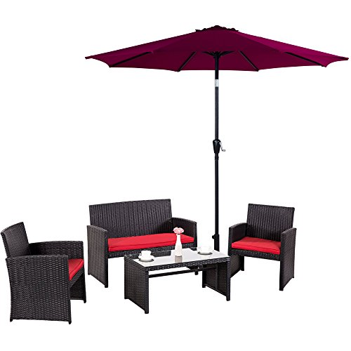 Cloud-Mountain-5-Piece-Rattan-Furniture-Set-Patio-Conversation-Set-Patio-Umbrella-Sectional-Wicker-Furniture-Outdoor-Garden-Lawn-Sofa-Cushioned-Set-Black-Rattan-with-Red-Cushions-0
