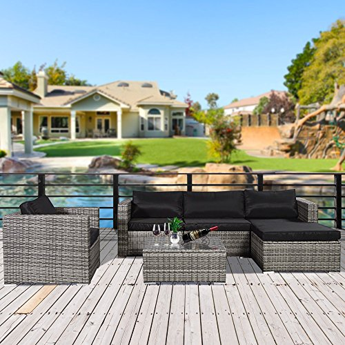 Cloud-Mountain-No-Tax-6-Piece-Outdoor-Patio-Summer-Rattan-Wicker-Sectional-Conversation-Sofa-Set-Wicker-Furniture-Set-wTable-5-Sofa-Chairs-Mix-Gray-Rattan-Black-Cushion-0