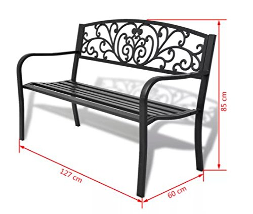 ComfyLeads-Garden-Bench-Made-of-Steel-Frame-and-Cast-Iron-Backrest-0-0